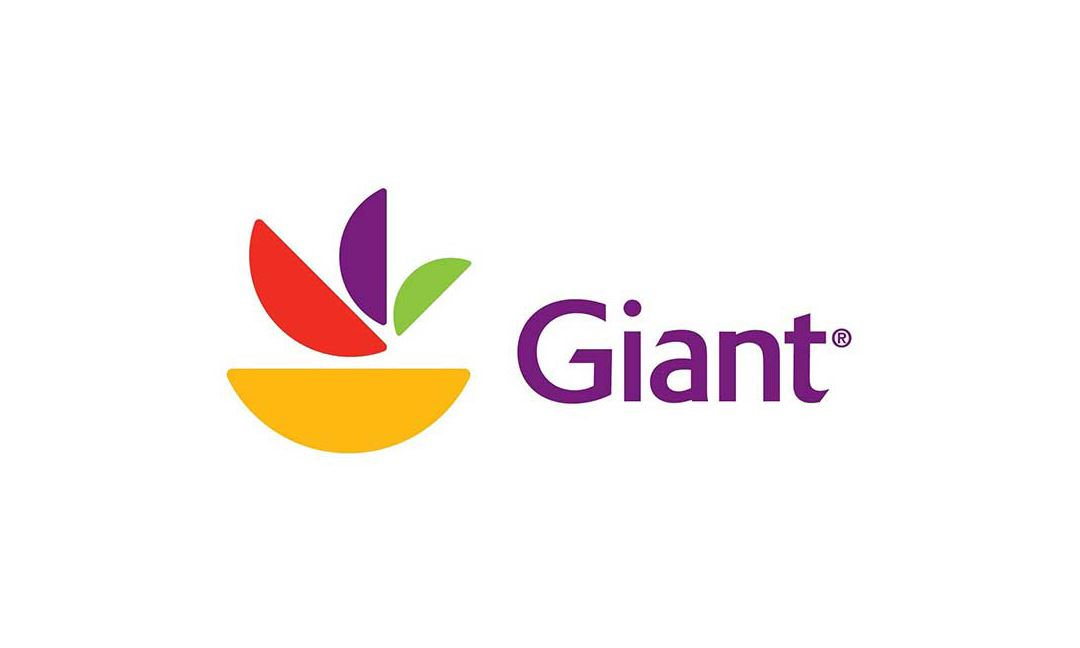 Giant Food Grocery Store logo written in purple with green, yellow, red, and purple graphic