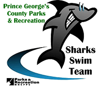 Logo reading Sharks Swim Team with drawn images of a smiling shark on the right